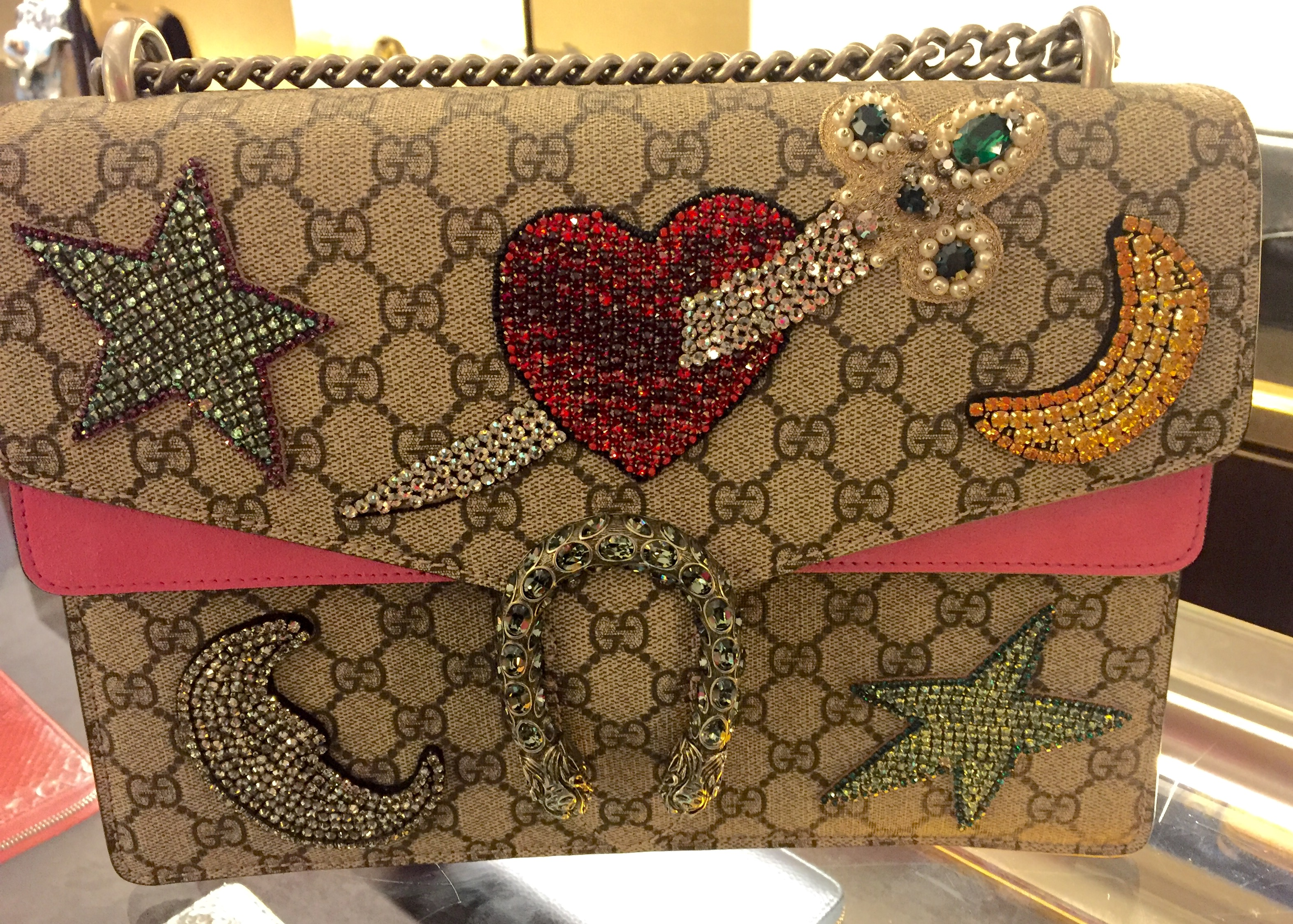 2b0f3bf6fd3 Gucci embellished Dionysus bag with colored stones and rhinestone appliqués